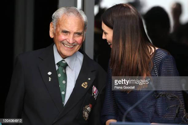 Robert Bom Gillies one of only two surviving members of the Maori Battalion with NZ Prime Minister Jacinda Ardern at the opening of Te Rau Aroha on...
