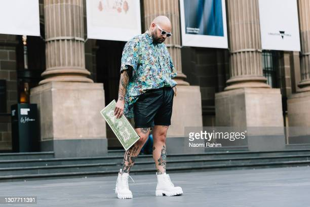 Robert Bonomy at Melbourne Fashion Festival at National Gallery of Victoria on March 17, 2021 in Melbourne, Australia.