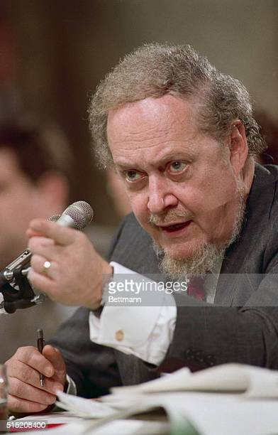 Robert Bork, judge for the US Court of Appeals for the District of Columbia Circuit, gestures during his testimony on the fifth day of his...
