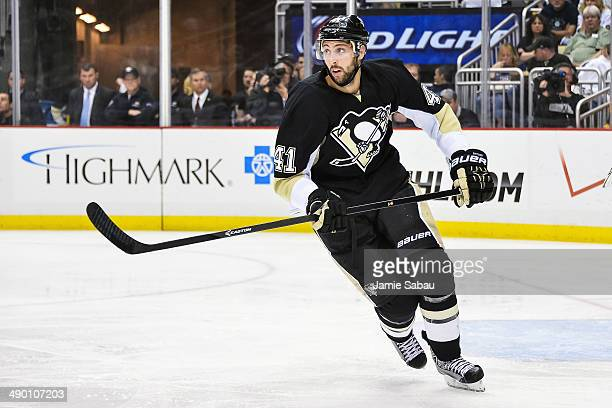 Robert Bortuzzo of the Pittsburgh Penguins skates against the New York Rangers in Game Five of the Second Round of the 2014 NHL Stanley Cup Playoffs...