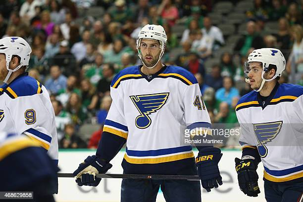 Robert Bortuzzo of the St Louis Blues at American Airlines Center on April 3 2015 in Dallas Texas