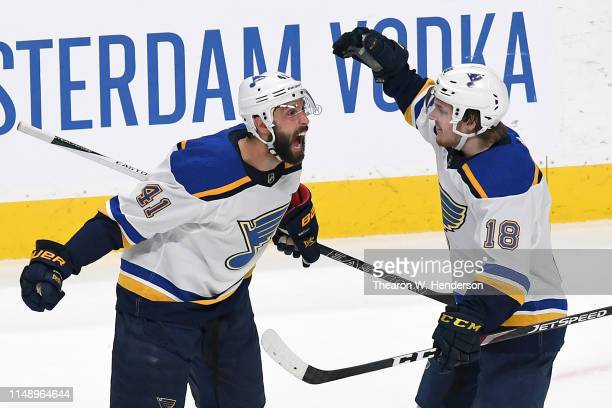 Robert Bortuzzo of the St. Louis Blues celebrates his goal against the San Jose Sharks with Robert Thomas in Game Two of the Western Conference Final...