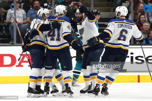 Robert Bortuzzo of the St Louis Blues celebrates his goal against the San Jose Sharks in Game Two of the Western Conference Final during the 2019 NHL...