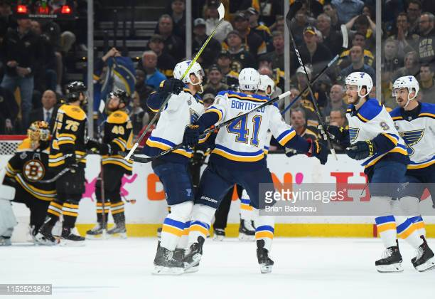 Robert Bortuzzo of the St Louis Blues celebrates with teammates after scoring against the Boston Bruins during Game Two of the 2019 NHL Stanley Cup...