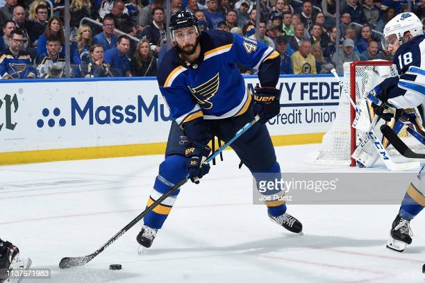Robert Bortuzzo of the St Louis Blues clears the puck against the Winnipeg Jets in Game Four of the Western Conference First Round during the 2019...