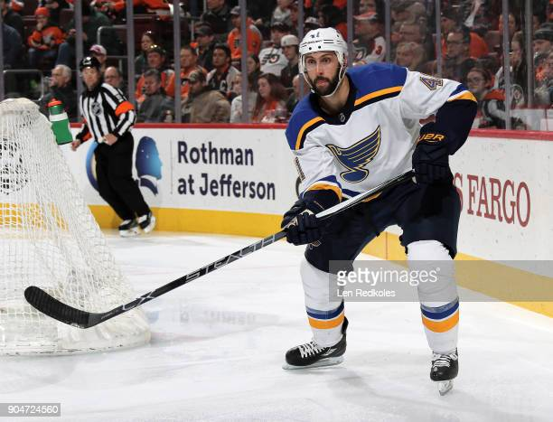 Robert Bortuzzo of the St Louis Blues completes a pass against the Philadelphia Flyers on January 6 2018 at the Wells Fargo Center in Philadelphia...