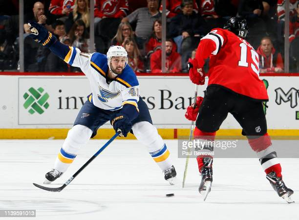Robert Bortuzzo of the St Louis Blues defends during an NHL hockey game against the New Jersey Devils at the Prudential Center in Newark New Jersey...
