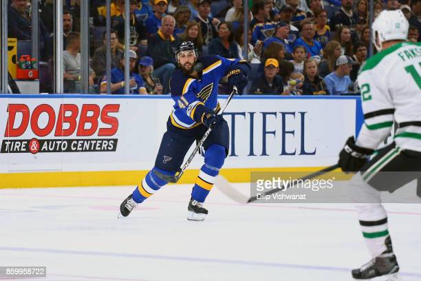 Robert Bortuzzo of the St Louis Blues in action against the Dallas Stars at the Scottrade Center on October 7 2017 in St Louis Missouri