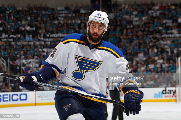 Robert Bortuzzo of the St Louis Blues looks on during the game against the San Jose Sharks in Game Three of the Western Conference Finals during the...