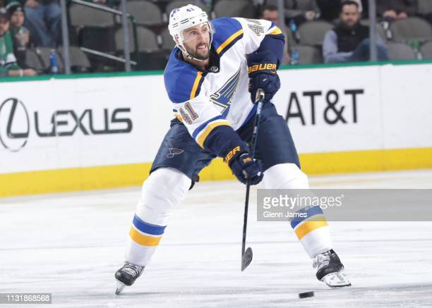 Robert Bortuzzo of the St Louis Blues makes a pass to a teammate against the Dallas Stars at the American Airlines Center on February 21 2019 in...