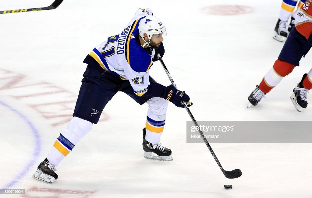 Robert Bortuzzo #41 of the St. Louis Blues passes during a game against the Florida Panthers at BB&T Center on October 12, 2017 in Sunrise, Florida.