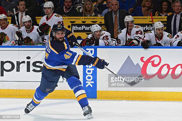 Robert Bortuzzo of the St Louis Blues shoots against the Chicago Blackhawks in Game Five of the Western Conference First Round during the 2016 NHL...