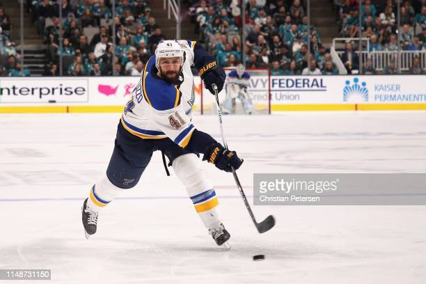 Robert Bortuzzo of the St Louis Blues shoots the puck against the San Jose Sharks in Game One NHL Western Conference Final during the 2019 NHL...