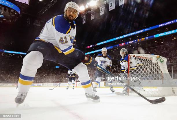 Robert Bortuzzo of the St Louis Blues skates against the New York Islanders at the Barclays Center on January 15 2019 in the Brooklyn borough of New...