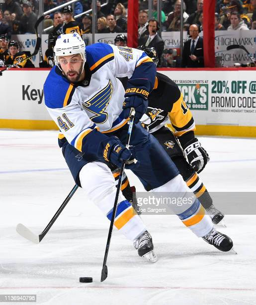 Robert Bortuzzo of the St Louis Blues skates against the Pittsburgh Penguins at PPG Paints Arena on March 16 2019 in Pittsburgh Pennsylvania