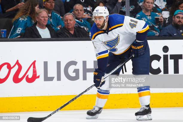 Robert Bortuzzo of the St Louis Blues skates against the San Jose Sharks at SAP Center on March 16 2017 in San Jose California