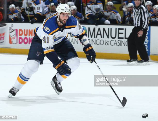 Robert Bortuzzo of the St Louis Blues skates with the puck during the game against the Anaheim Ducks on March 15 2017 at Honda Center in Anaheim...
