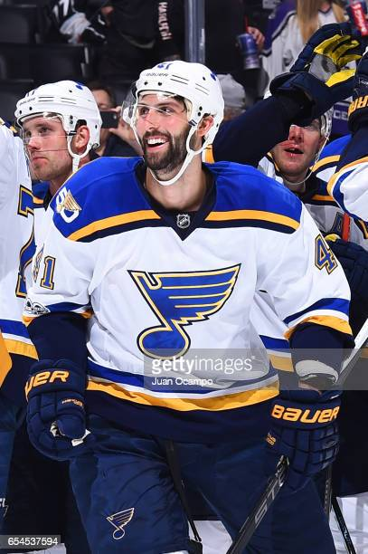 Robert Bortuzzo of the St Louis Blues smiles following their win over the Los Angeles Kings on March 13 2017 at Staples Center in Los Angeles...