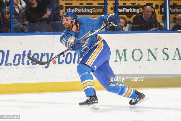 Robert Bortuzzo of the St Louis Blues takes a shot against the New York Islanders on March 11 2017 at Scottrade Center in St Louis Missouri
