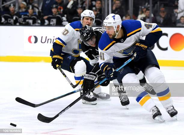 Robert Bortuzzo of the St Louis Blues turns away from Anze Kopitar of the Los Angeles Kings during the second period at Staples Center on January 21...