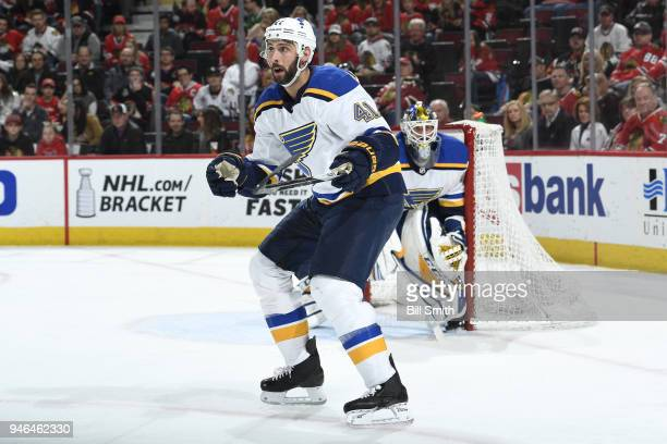 Robert Bortuzzo of the St Louis Blues watches for the puck in the third period against the Chicago Blackhawks at the United Center on April 6 2018 in...