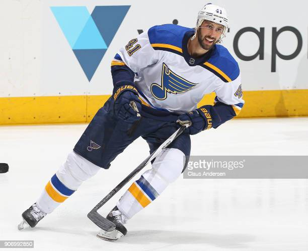 Robert Bortuzzo of the StLouis Blues skates during the warmup prior to playing against the Toronto Maple Leafs in an NHL game at the Air Canada...