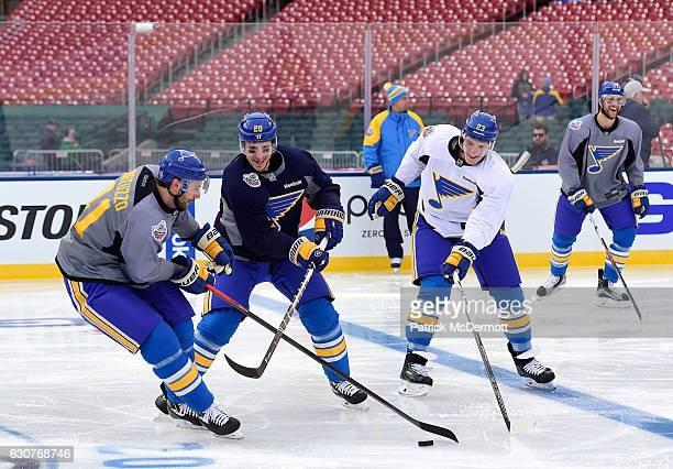Robert Bortuzzo Paul Stastny Dmitrij Jaskin and Alex Pietrangelo of the St Louis Blues skate during practice for the 2017 Bridgestone NHL Winter...