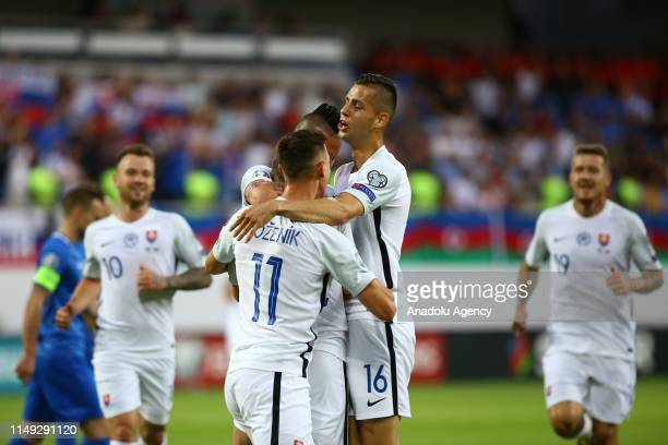 Robert Bozenik , David Hancko , Albert Rusnak and Juraj Kucka of Slovakia celebrate after a goal during a UEFA Euro 2020 European Championship...