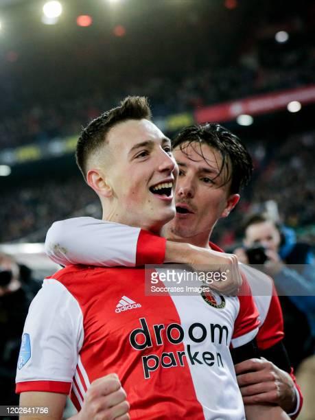 Robert Bozenik of Feyenoord celebrates his goal the 21 with Steven Berghuis of Feyenoord during the Dutch Eredivisie match between Feyenoord v...