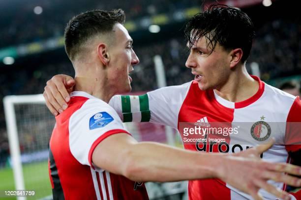 Robert Bozenik of Feyenoord, celebrates his goal the 2-1 with Steven Berghuis of Feyenoord during the Dutch Eredivisie match between Feyenoord v...