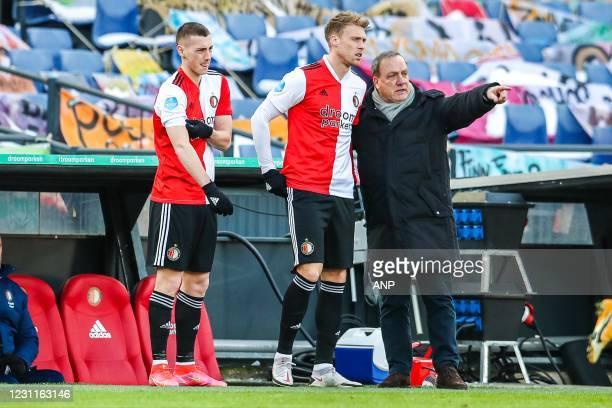 Robert Bozenik of Feyenoord, Nicolai Jorgensen of Feyenoord, Feyenoord coach Dick Advocaat during the Dutch Eredivisie match between Feyenoord...