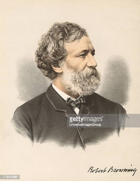 Robert Browning English poet and dramatist. From The Modern Portrait Gallery, Cassell, Petter & Galpin, London c.1880. Tinted lithograph.
