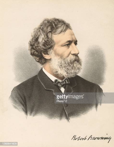 """Robert Browning English poet and dramatist. From """"The Modern Portrait Gallery"""", Cassell, Petter & Galpin, London c.1880. Tinted lithograph."""