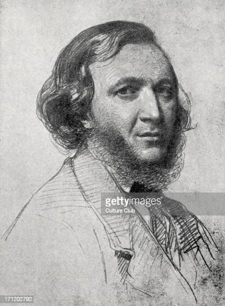 Robert Browning portrait of the English poet and playwright 22 May 1859 7 May 1812 12 December 1889 Drawn by R Lehmann in Rome