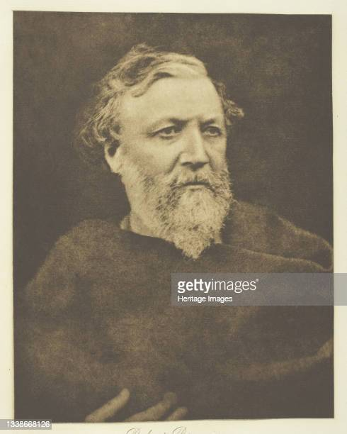 Robert Browning printed circa 1893. A work made of photogravure, plate 9 from the album 'Lord Tennyson and his friends' ; edition 138/140. Artist...