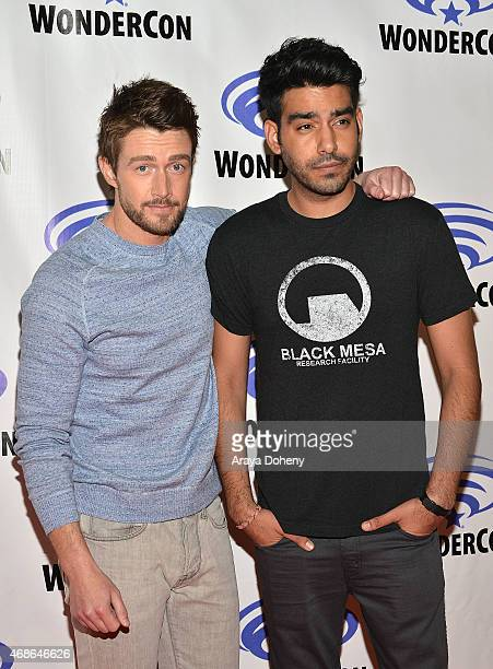 Robert Buckley and Rahul Kohli attend 'iZombie' Cast and Filmmakers press line at Anaheim Convention Center on April 4 2015 in Anaheim California