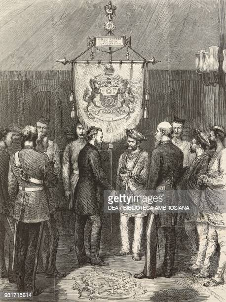 Robert BulwerLytton Viceroy of India presenting to the maharaja Mahadaji Shinde of Gwalior a banner prepared by order of Queen and Empress Victoria...