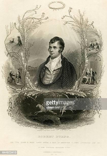 Robert Burns Scotish poet born 1759 in Alloway / Ayrshire / Scotland died 1796 in Dumfries / Dumfriesshire / Scotland steel engraving by AH Payne...