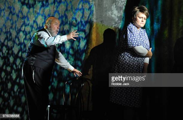 Robert Burt as Menashe and Gundula Hintz as Esther in the Royal Opera's production of Na'ama Zisser's Mamzer Bastard directed by Jay Scheib and...