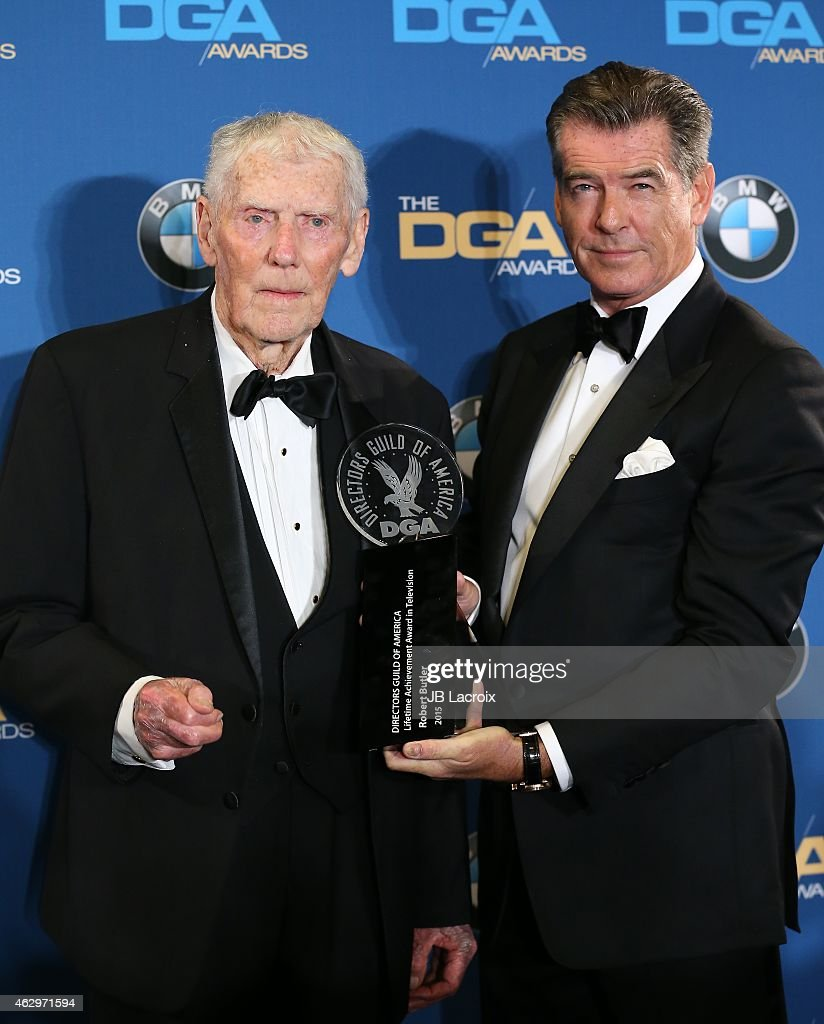 Robert Butler and Pierce Brosnan pose in the press room at the 67th Annual Directors Guild Of America Awards at the Hyatt Regency Century Plaza on February 7, 2015 in Century City, California.