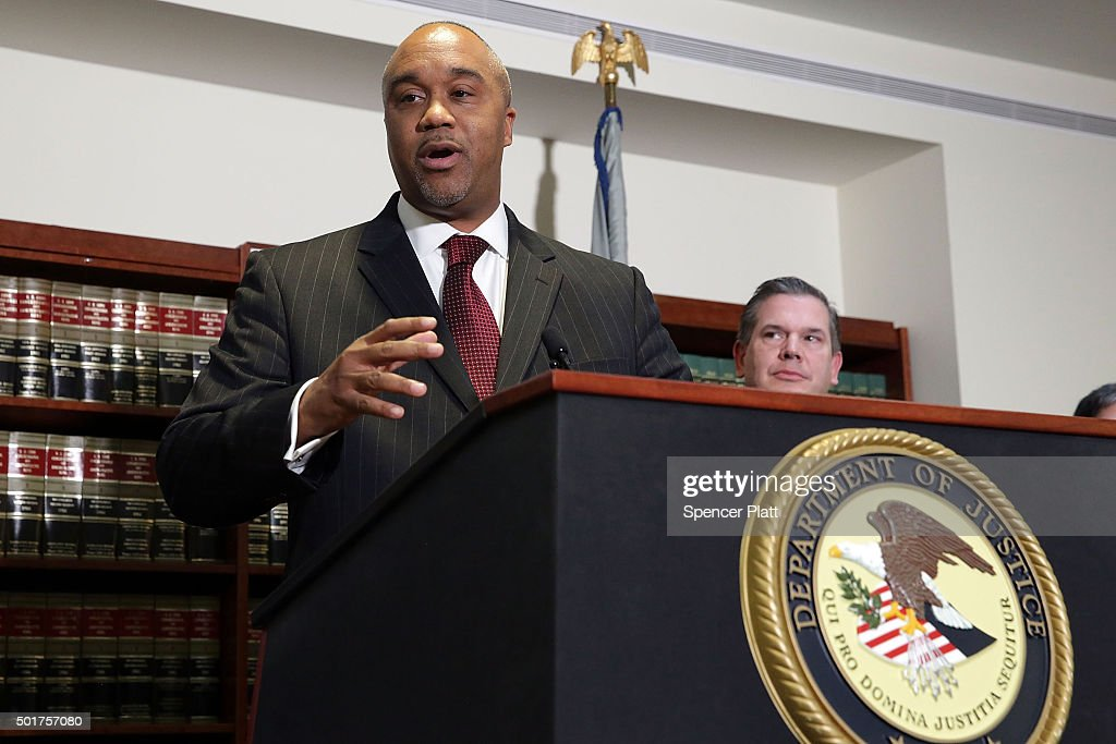 Robert Capers, U.S. Attorney for the Eastern District, speaks at a news conference in Brooklyn after the arrest of former hedge fund manager Martin Shkreli on December 17, 2015 in New York City. Shkreli, who came to world fame after buying a pharmaceutical company and dramatically raising the prices on certain life-saving drugs, was arrested in New York on a seven-count indictment for a variety of financial frauds. Attorney Evan Greebel was also arrested and charged with conspiracy to commit wire fraud.