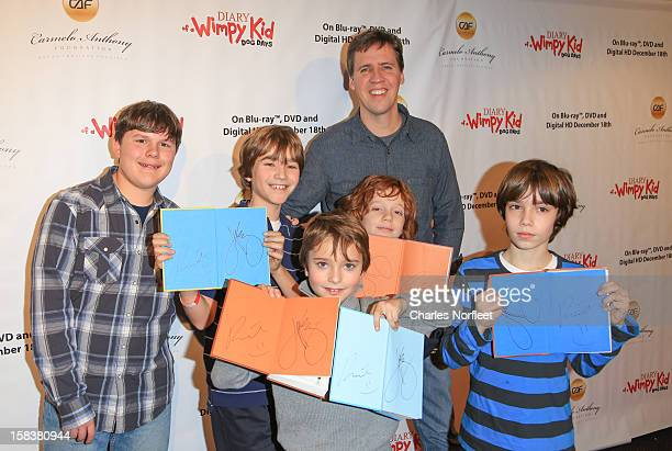 Robert Capron Jeff Kinney and young fans attend the Diary Of A Wimpy Kid Dog Days screening>> at AMC Empire 25 theater on December 14 2012 in New...
