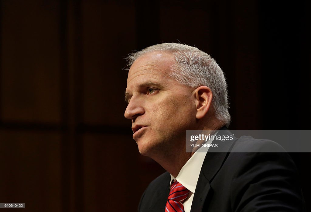 Robert Cardillo, director of the National Geospatial-Intelligence Agency, testifies before a Senate Select Committee on Intelligence on Capitol Hill in Washington, DC on September 27, 2016. / AFP / YURI