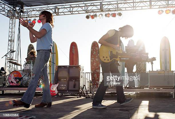 """Robert Carmine and Taylor Locke of Rooney during Hollister Co. Presents Rooney on Huntington Beach for the Finale of """"The 12 Days of Rock"""" Concert..."""