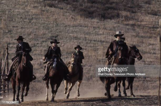 Robert Carradine, Clint Howard, Clay O'Brien, A Martinez appearing in the ABC tv series 'The Cowboys', shot at the Empire Ranch.