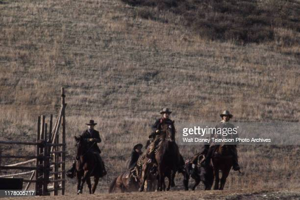 Robert Carradine, Clint Howard, Clay O'Brien, Sean Kelly, A Martinez appearing in the ABC tv series 'The Cowboys', shot at the Empire Ranch.