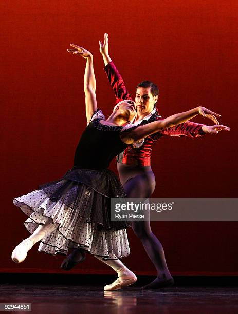 Robert Carter and Christopher Lam perform on stage during the press call for Les Ballets Trockadero de Monte Carlo at the Theatre Royal on November...