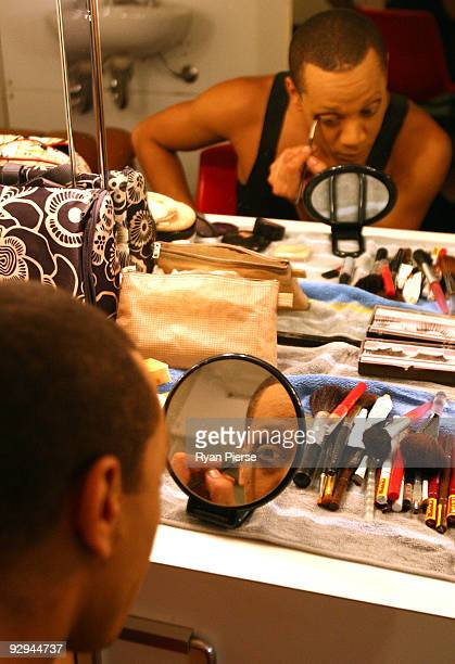 Robert Carter prepares his makeup before the press call for Les Ballets Trockadero de Monte Carlo at the Theatre Royal on November 10 2009 in Sydney...