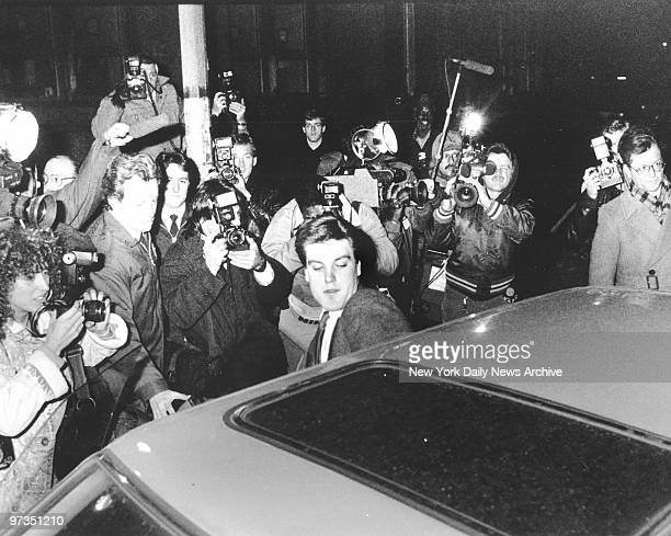 Robert Chambers Jr is surrounded by media as he leaves Manhattan Criminal Court after the seventh of deliberations in the Jennifer Levin murder trial...