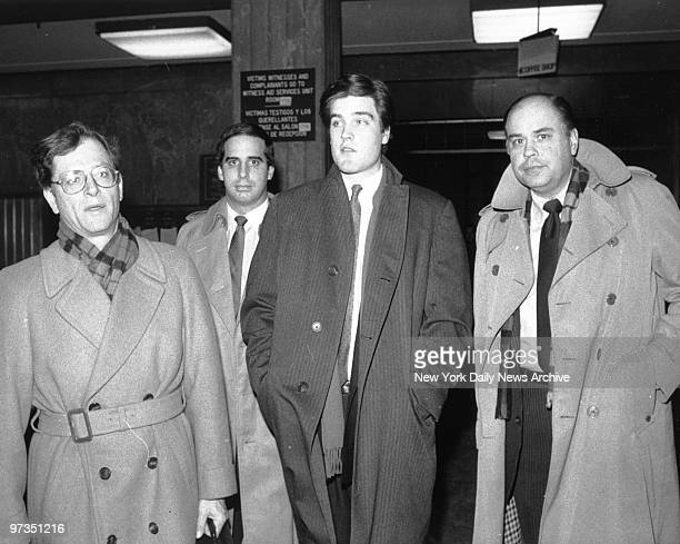 Robert Chambers Jr suspect in the murder of Jennifer Levin along with his attorney Jack Litman and his father Robert Chambers Sr as they leave...